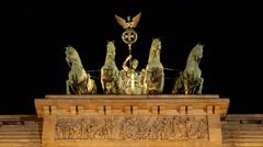 Quadriga Victory Peace Symbol Olive Wreath Night Lights Atop Brandenburg Gate Stock Footage
