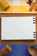 Notebook for cooking recipes on wood Stock Photos
