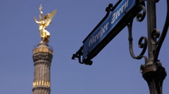 Grosse Stern Great Star Street Sign Intersection Berlin City Victory Column Icon Stock Footage