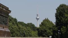 German Landmark Berlin TV Tower Television Radio Spire Antenna Famous Fersehturm Stock Footage