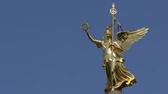 Closeup Close Up Berlin Victory Column Iconic German Landmark Freedom Symbol Day Stock Footage