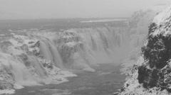 Gullfoss waterfall in icelandic winter landscape Stock Footage
