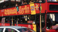Berlin City Sightseeing Double Decker Bus Traffic Jam Congestion Hop On Off Stop Stock Footage