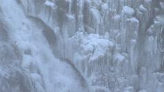 Waterfall in icelandic winter landscape Stock Footage