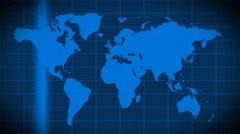 World map scanning satellite radar - loop Stock Footage
