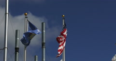 American and Wisconsin flag waving Stock Footage