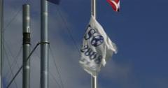 ISO 9000 flag waving Stock Footage