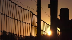 Wire fence at sunrise, sunset Stock Footage