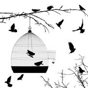 birds silhouettes and bird cage - stock illustration