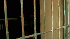 Prison Cage Bars, Crime, Justice, Jail, Metal, Iron, Pan Stock Footage