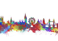 Watercolor art print of the skyline of london Piirros