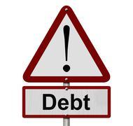 Debt caution sign Stock Illustration