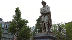 Statue of Rembrandt Stock Footage