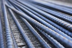 steel rods used to reinforce concrete in construction - stock photo