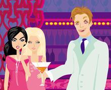 Stock Illustration of two gossip women