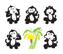 Vector group of monkeys and bananas Piirros