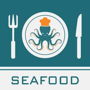 squid, fork, knife, dish icon, restaurant sign - stock illustration