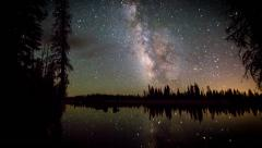 Milky Way Time-lapse galaxy across Mountain Lake Stock Footage