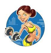 Stock Illustration of Fitness. Sporting girl with dumbbells