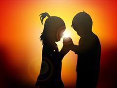 children at sunset - stock illustration