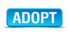 adopt blue 3d realistic square isolated button - stock illustration