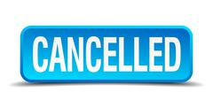 Cancelled blue 3d realistic square isolated button Stock Illustration