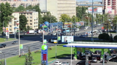 4K, timelapse, camera zoom out of Neste petrol station in St Petersburg city Stock Footage