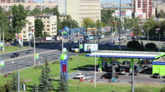 Timelapse, camera zoon in of Neste petrol station in St Petersburg, Russia Stock Footage