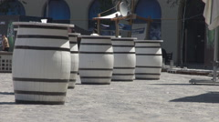 Great white barrels outside, bar using barrels instead of tables, ingenious idea Stock Footage