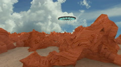 UFO FLYING through desert Stock Footage