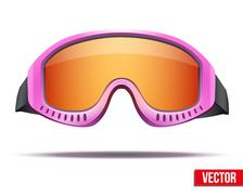 Female pink snowboard ski goggles with colorful glass. Vector - stock illustration
