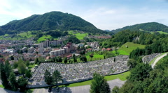 Aerial footage of Zagorje city in Slovenia Stock Footage