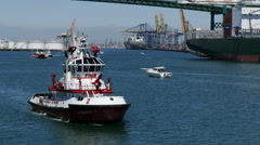 4K Fire Boat Port of Los Angeles Stock Footage