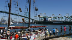 4K Tall Ship Loading Up Passengers Stock Footage