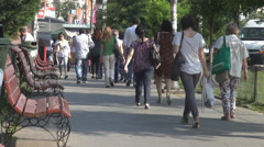 Commuting scene men and women going to work, crowd of people to subway transport Stock Footage