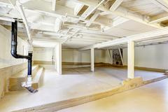 Empty basement in american house Stock Photos