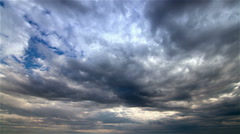 Timelapse of storm clouds travelling against a sky Stock Footage