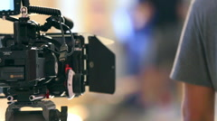 Professional movie camera on film set Stock Footage