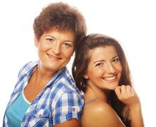 happy mature mother ang adult daughter - stock photo