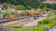Gas line construction site wide shot Stock Footage