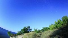 Starry sky over the reservoir in Kremenchuk. Mountain Piviha. Kremenchuk,  Stock Footage
