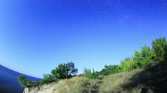 Starry sky over the reservoir in Kremenchuk. Mountain Piviha Stock Footage