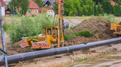 Equipment for building gas line pipes Stock Footage