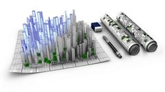 Concept of architectural design of a city emerging from the map Stock Illustration