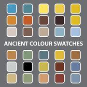 illustration of colourful swatches on grey background - stock illustration