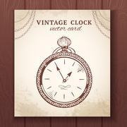 Old vintage pocket watch card Piirros