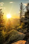 Sunny mountain trail in colorado. rocky trail in a summer. Stock Photos