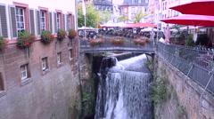 Cascade in the German small town Saarburg. Stock Footage