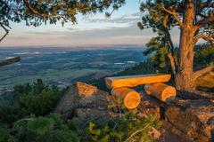 Colorado view point bench place. mount falcon vista point. denver metro area Stock Photos