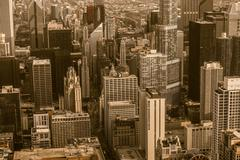 vintage chicago. downtown chicago in vintage sepia color grading. aerial city - stock photo
